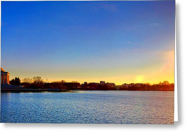 Sunset Over The Jefferson Memorial  Greeting Card by Olivier Le Queinec