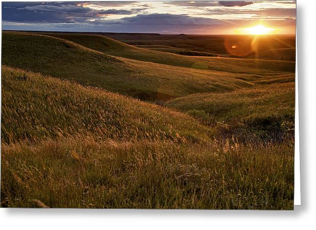 Rural Landscapes Photographs Greeting Cards - Sunset Over The Kansas Prairie Greeting Card by Jim Richardson