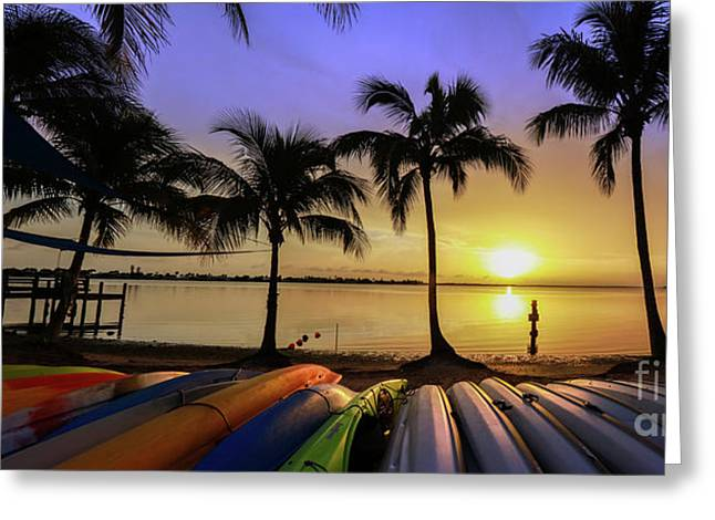 Sunset Over The Kayaks Greeting Card