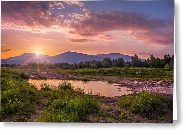Sunrise Over The Little Beskids Greeting Card