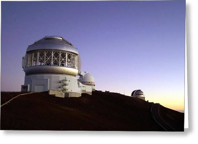 Sunset Over The Mauna Kea Observatories On Kona Greeting Card by Amy McDaniel