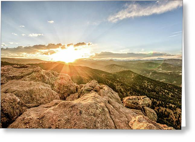 Sunset Over The Mountains Of Flaggstaff Road In Boulder, Colorad Greeting Card
