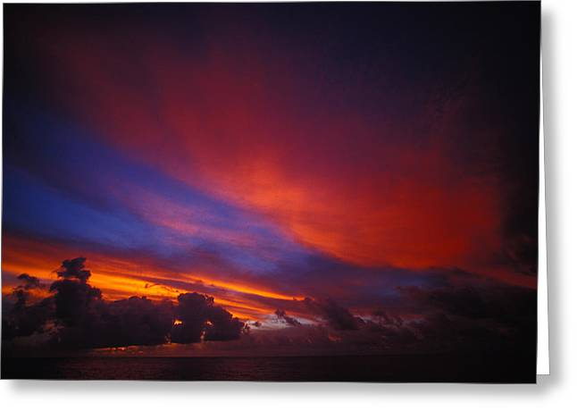 Sunset Over The Ocean Greeting Card by Nick Norman