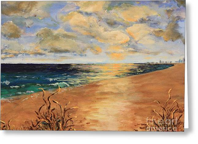 Sunset Over The Ocean Greeting Card by Rich Donadio
