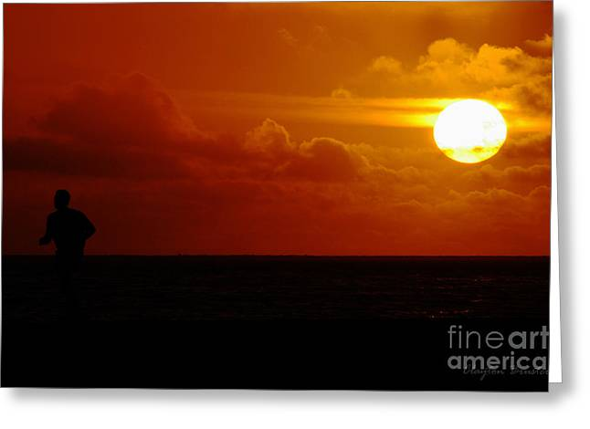 Sunset Over The Pacific Greeting Card by Clayton Bruster