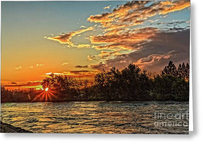 Sunset Over The Payette  Greeting Card