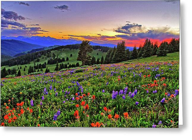 Sunset Over The Ridge Greeting Card