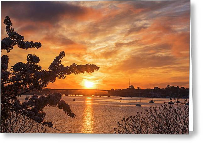 Sunset Over The Salem Beverly Bridge From The Salem Willows Salem Ma Greeting Card