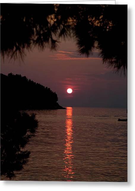 Sunset Over The Sea - Croatia Greeting Card by Robert Shard