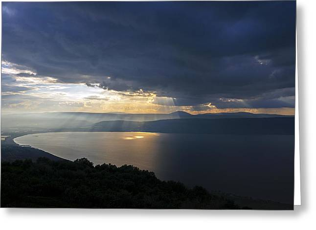 Sunset Over The Sea Of Galilee Greeting Card