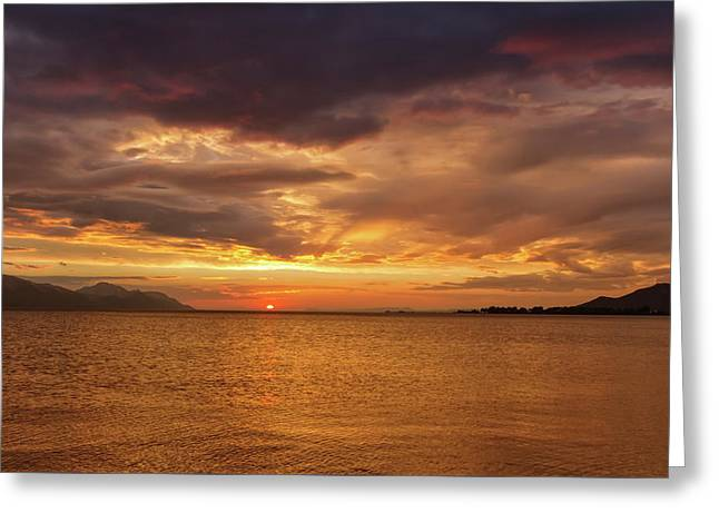 Sunset Over The Sea, Opuzen, Croatia Greeting Card
