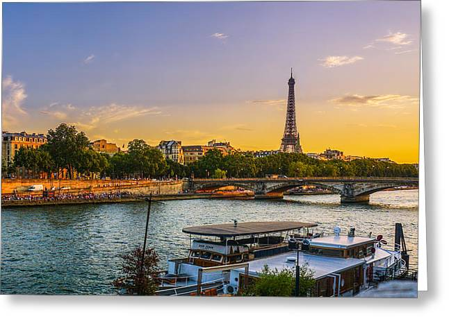 Sunset Over The Seine In Paris Greeting Card
