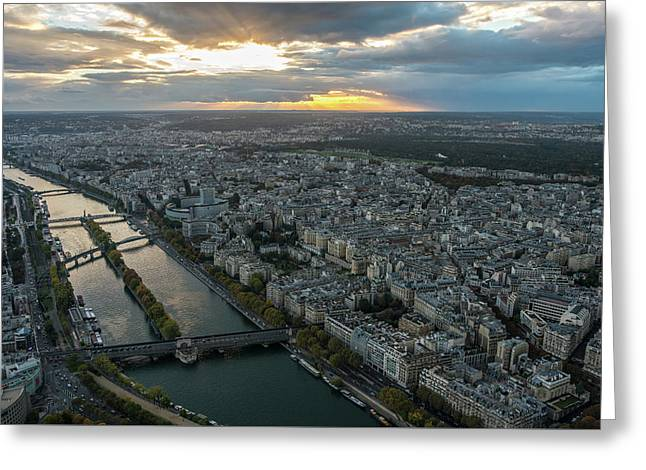 Sunset Over The Seine In Paris Greeting Card by Mike Reid