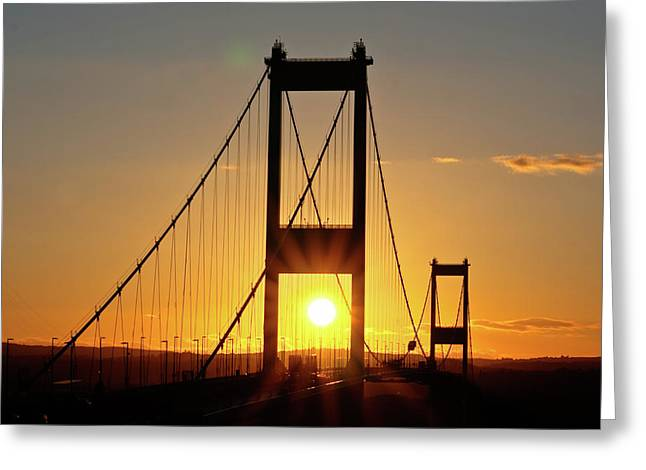 Sunset Over The Severn Greeting Card by Brian Roscorla