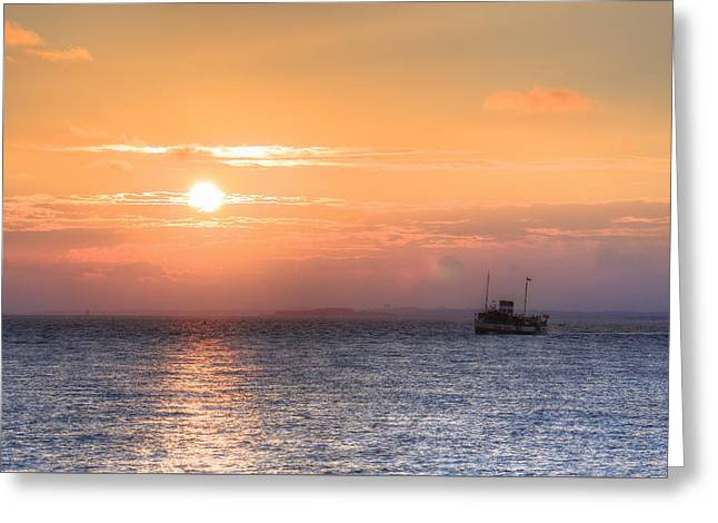 sunset over the Solent - England Greeting Card