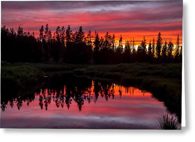 Sunset Over The Stillwater Greeting Card by TL  Mair
