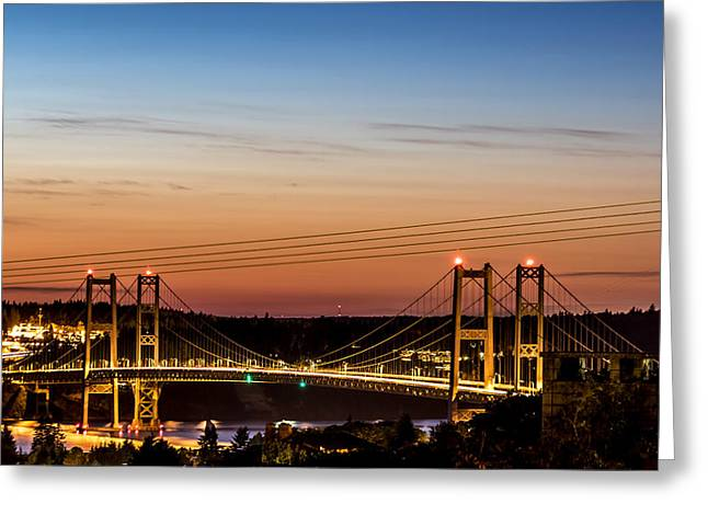 Sunset Over The Tacoma Narrows Bridges Greeting Card