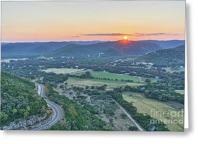 Sunset Over The Texas Hills Greeting Card