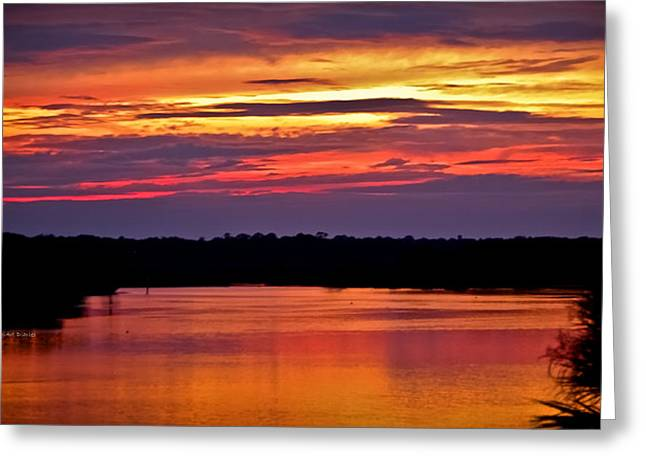 Sunset Over The Tomoka Greeting Card by DigiArt Diaries by Vicky B Fuller