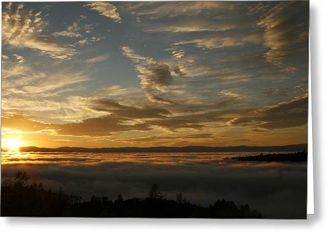 Sunset Over The Valley Fog Greeting Card
