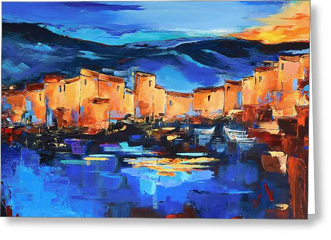 Sunset Over The Village 2 By Elise Palmigiani Greeting Card by Elise Palmigiani