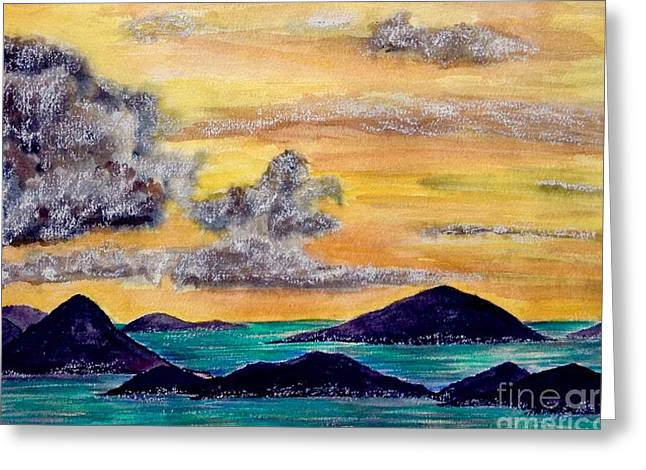 Sunset Over The Virgin Islands Greeting Card