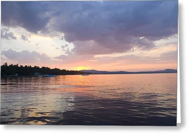 Solar Phenomena Greeting Cards - Sunset Over The Water At Sebago Lake Greeting Card by Skip Brown