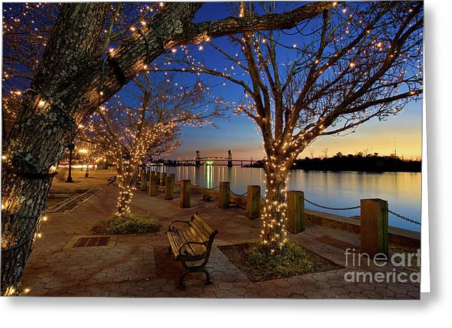 Sunset Over The Wilmington Waterfront In North Carolina, Usa Greeting Card
