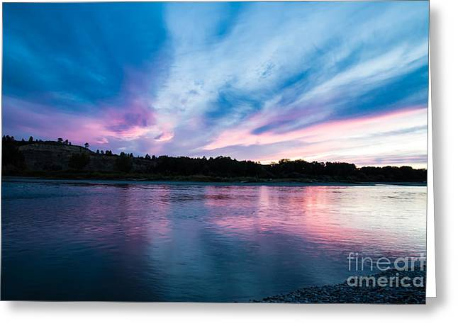 Sunset Over The Yellowstone Greeting Card