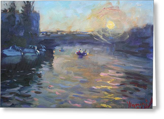 Sunset Over Tonawanda Canal  Greeting Card by Ylli Haruni