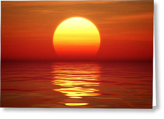 Sunset Over Tranqual Water Greeting Card