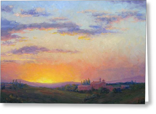 Sunset Over Tuscany Greeting Card by Bunny Oliver