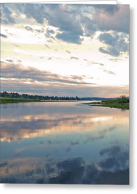 Sunset Over Union Bay Tall Panorama Greeting Card