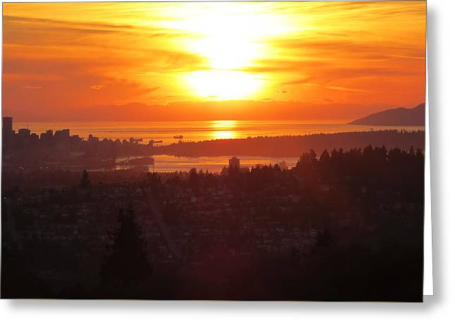 Sunset Over Vancouver Greeting Card