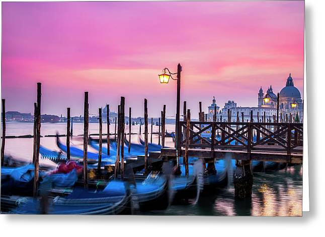 Sunset Over Venice Greeting Card by Andrew Soundarajan