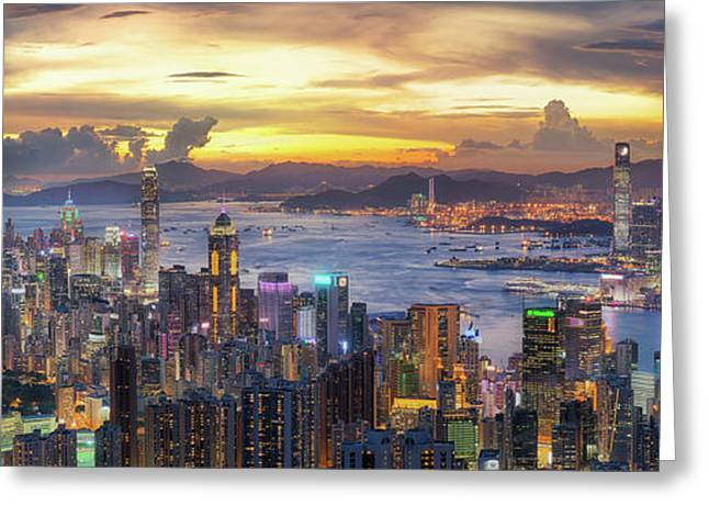 Sunset Over Victoria Harbor As Viewed Atop Victoria Peak With Ho Greeting Card by Anek Suwannaphoom