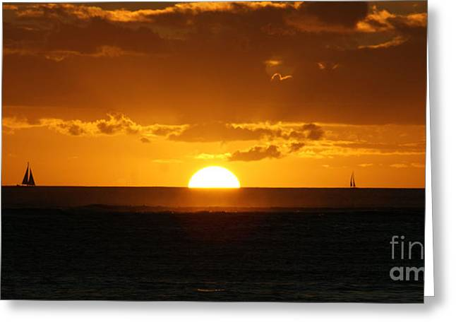 Sunset Over Waikiki Greeting Card by Angela DiPietro