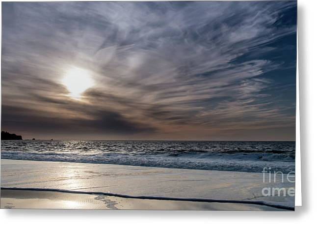 Sunset Over West Coast Beach With Silk Clouds In The Sky Greeting Card