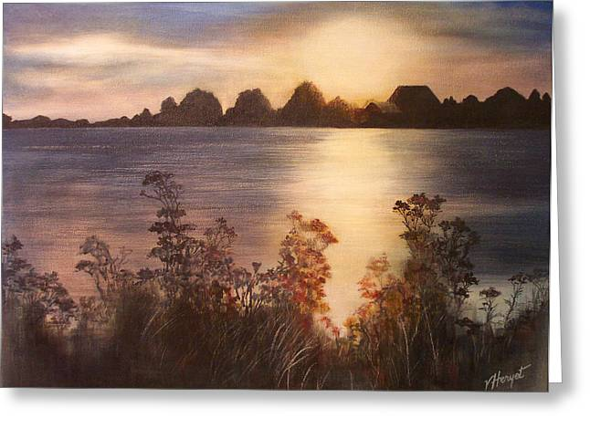 Sunset Over Westham Island Greeting Card by Victoria Heryet