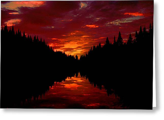 Sunset Over Wetlands Greeting Card
