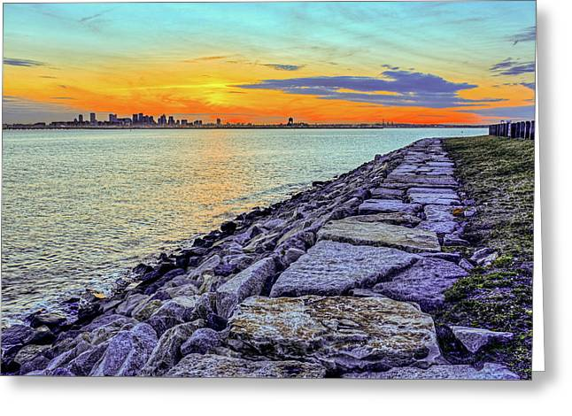 Sunset Ovet The Boston Skyline Boston Ma Rocky Ledge Greeting Card by Toby McGuire