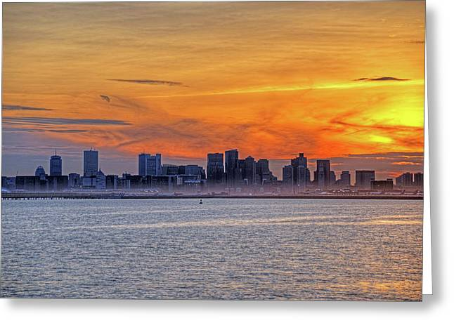 Sunset Ovet The Boston Skyline Boston Ma Greeting Card by Toby McGuire