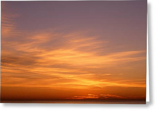 Sunset Ovr Lake Michigan Chicago Il Usa Greeting Card by Panoramic Images