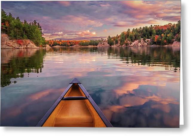 Sunset Paddle Greeting Card by Tracy Munson