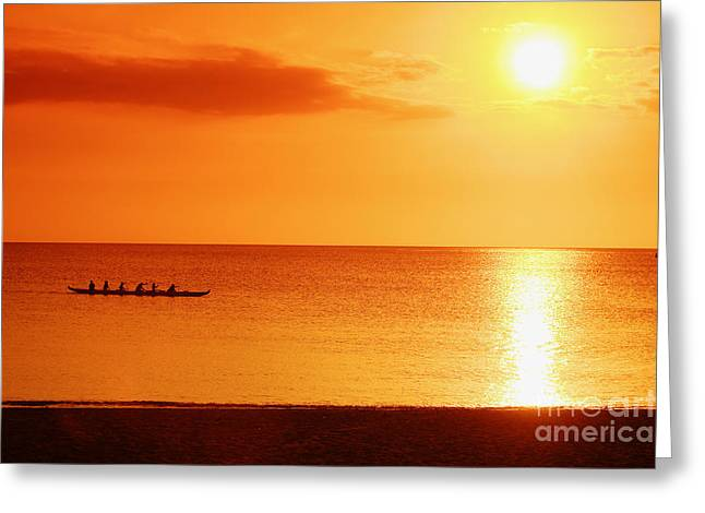 Sunset Paddle Greeting Card by Vince Cavataio - Printscapes