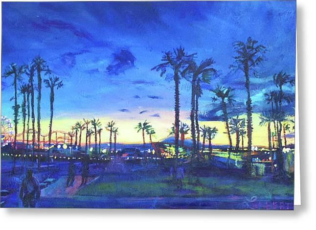 Sunset Palms Santa Monica Greeting Card