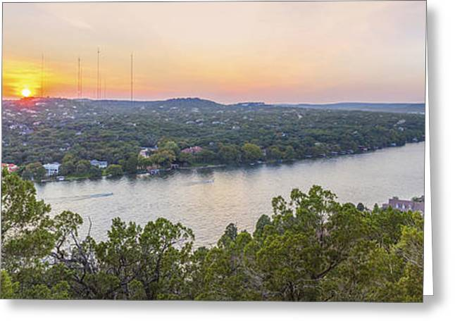 Sunset Panorama From Mount Bonnell Austin Texas Greeting Card by Rob Greebon