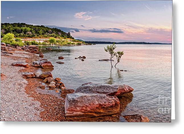 Sunset Panorama Of Canyon Lake East Shore New Braunfels Guadalupe River Texas Hill Country Greeting Card by Silvio Ligutti