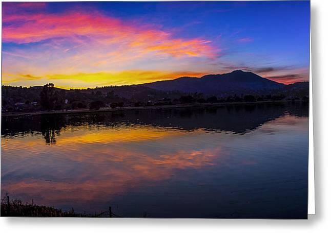 Sunset Panorama Of Mt. Tam And Richardson Bay Greeting Card