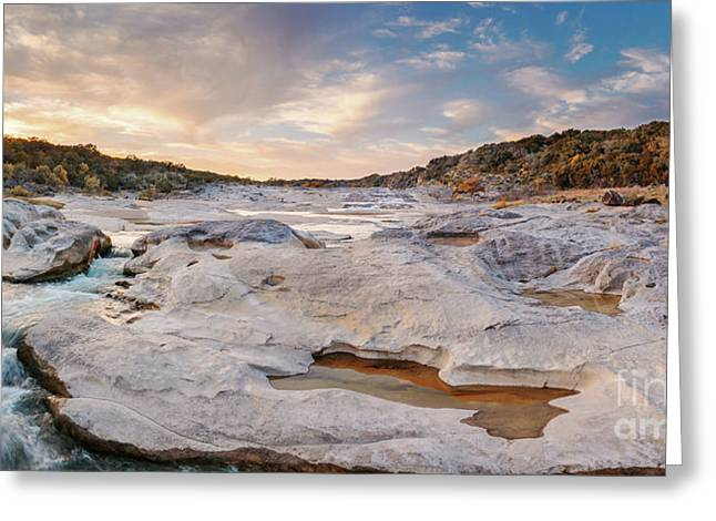 Sunset Panorama Of The Pedernales River At Pedernales Falls State Park - Jonhson City Hill Country Greeting Card